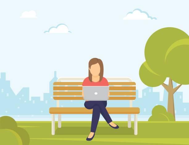 bildbanksillustrationer, clip art samt tecknat material och ikoner med ung kvinna sitter i parken på bänken och arbeta med laptop - bench
