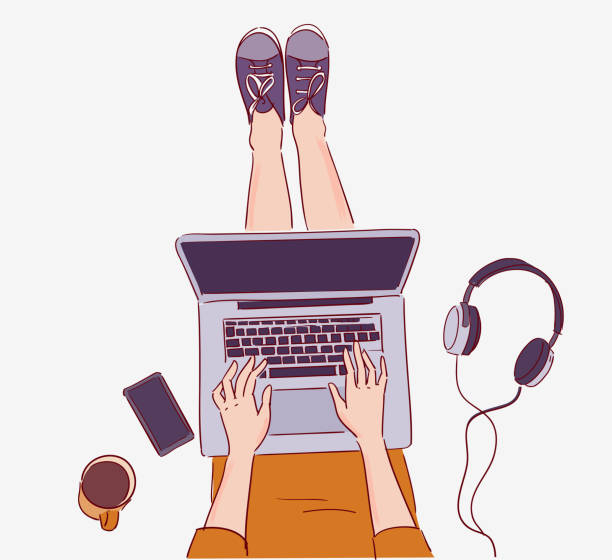 illustrazioni stock, clip art, cartoni animati e icone di tendenza di young woman sitting on floor and working on laptop computer - young digital