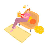 Hand drawn young woman sitting on sofa and reading book in evening over white background vector illustration. Everyday things from girls day concept