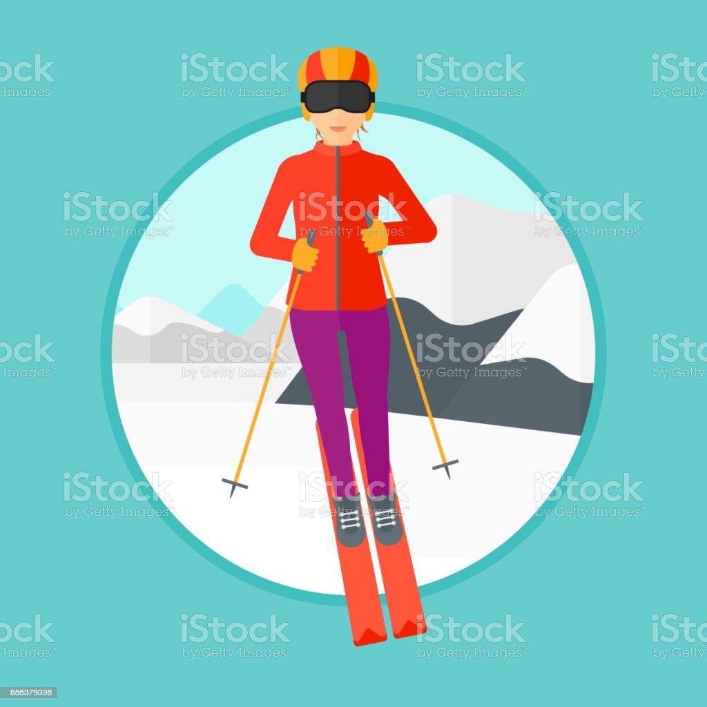 Young woman skiing vector art illustration