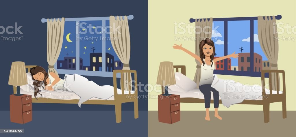 Junge Frau Schlaf In Der Nacht In Das Schlafzimmer Und Das Aufwachen ...