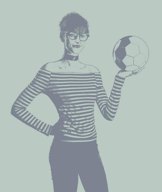 ilustrações de stock, clip art, desenhos animados e ícones de young woman soccer fan holding soccer ball - soccer supporter portrait