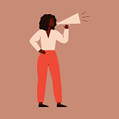 A young woman speaks into a megaphone. A strong girl agitator is calling for something. A female character shouts into a loudspeaker to protest. vector illustration