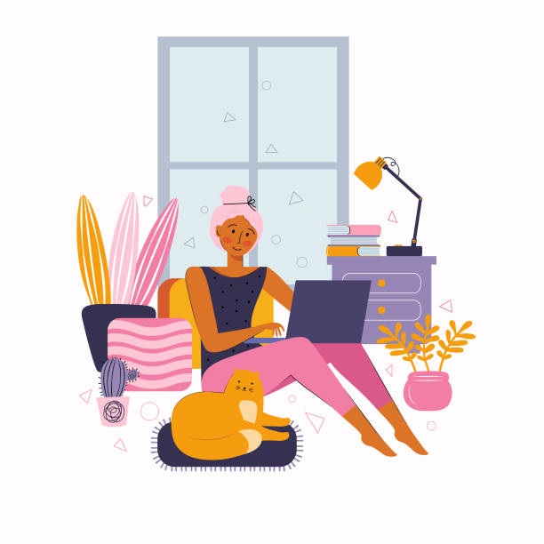 ilustrações de stock, clip art, desenhos animados e ícones de young woman spend time at home on the internet. leisure time on the internet. various activities online, entertainment, training, watching movies, chatting, working online. spending time at home - remote work