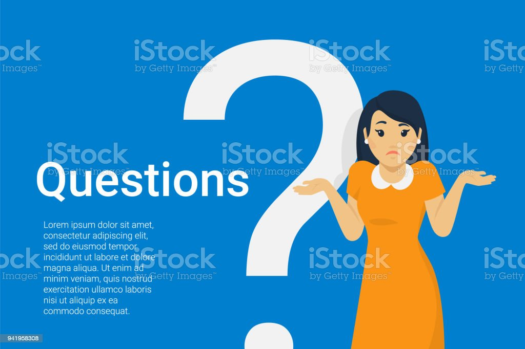 Young woman standing near big question symbo vector art illustration