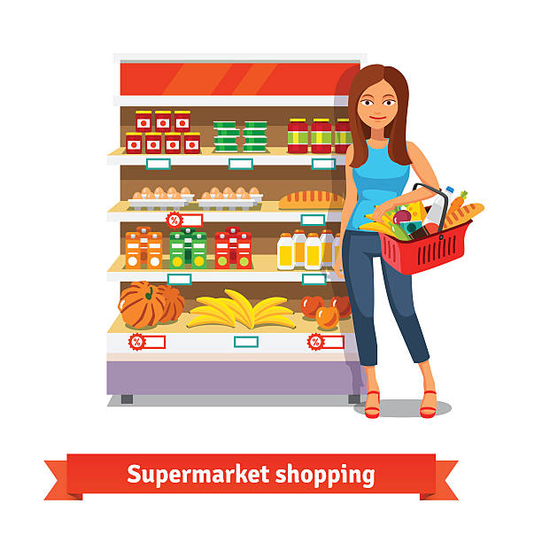 Young woman standing near supermarket shelves Young smiling woman standing near supermarket shelves with food groceries. Flat isolated vector illustration on white background. snack aisle stock illustrations