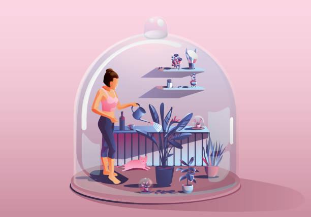 illustrazioni stock, clip art, cartoni animati e icone di tendenza di young woman staying at home. gardening watering the plants - hand on glass covid