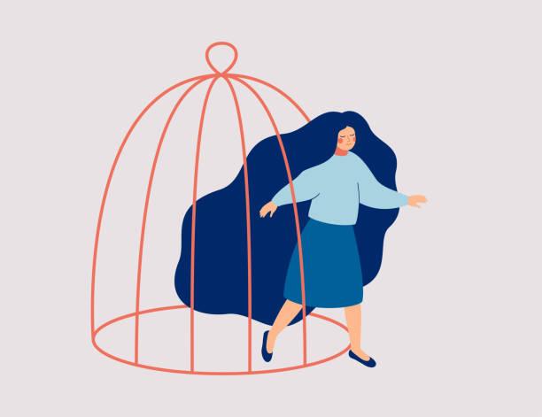 stockillustraties, clipart, cartoons en iconen met een jonge vrouw stapt uit de kooi. het vrouwelijke personage komt uit een afgesloten ruimte. - kooi