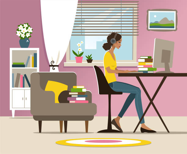 young woman studying at home - e-learning not icons stock illustrations