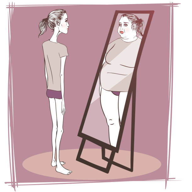Young woman suffering from anorexia Young woman suffering from anorexia looking in the mirror anorexia nervosa stock illustrations