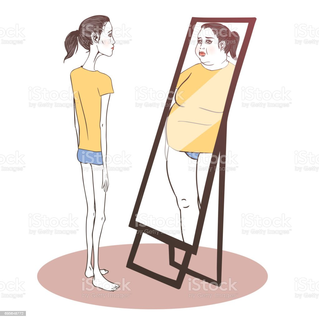 Young woman suffering from anorexia vector art illustration