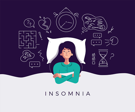 Young woman suffers from insomnia cause of mental problems, insomniac ideas. Girl lying in bed, thinking about deadline, upset event, can not relax. Character vector illustration, flat cartoon style
