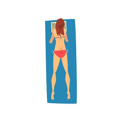 7cee7c9e2d24 Ilustración de Joven Mujer Tomando El Sol En La Toalla De Playa ...