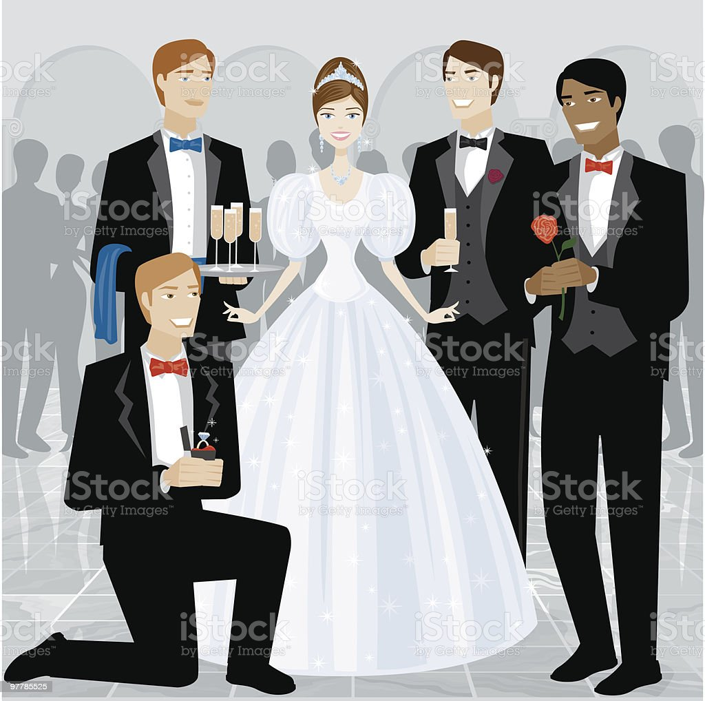 Young Woman Surrounded by Male Admirers at Ball royalty-free stock vector art