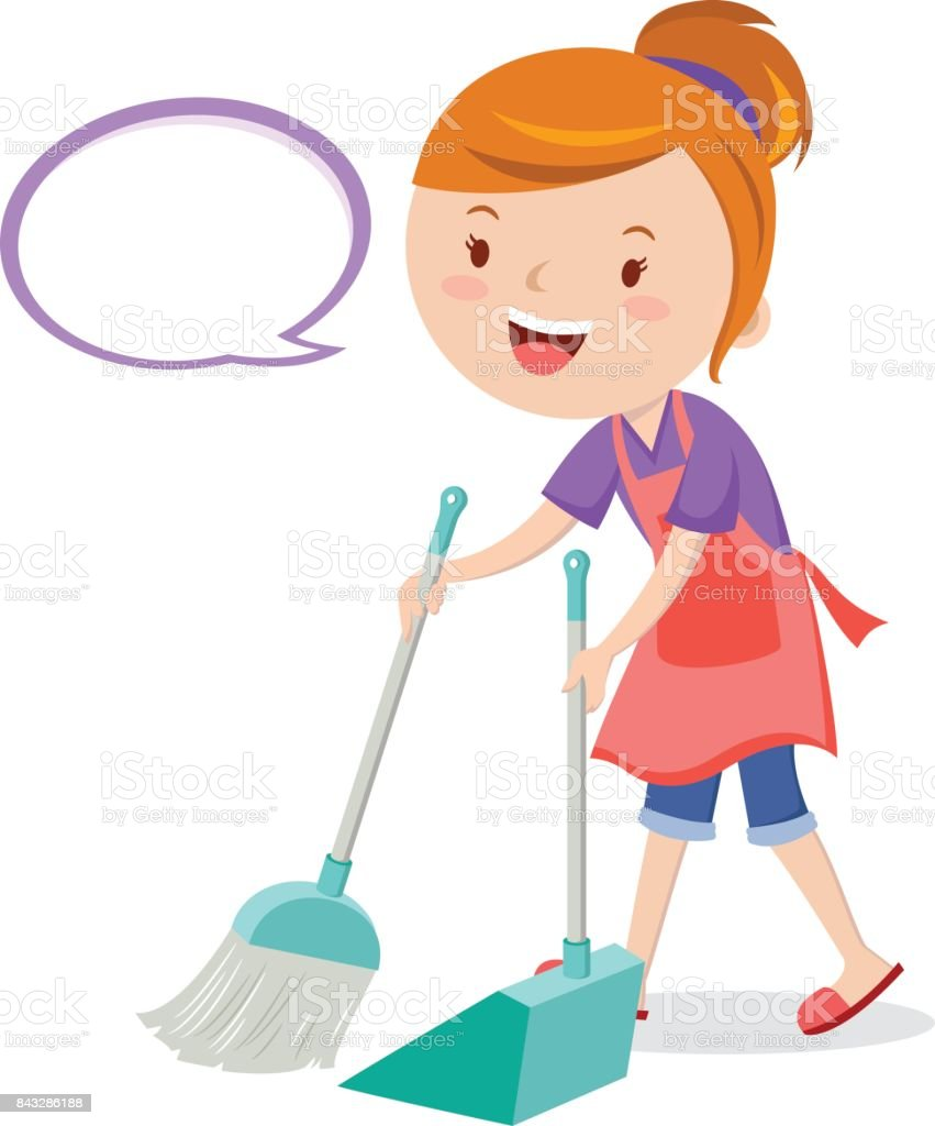 Young Woman Sweeping Floor With Broom Stock Illustration
