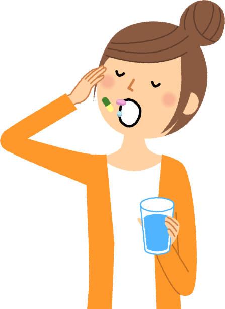 若い女性, 薬を飲む - くしゃみ 日本人点のイラスト素材/クリップアート素材/マンガ素材/アイコン素材