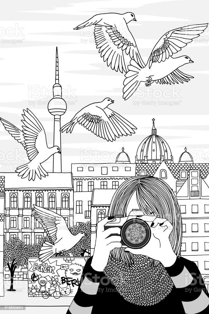 Junge Frau, die Fotos in Berlin – Vektorgrafik