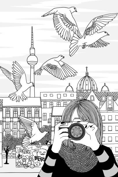 ilustrações de stock, clip art, desenhos animados e ícones de young woman taking photos in berlin - berlin wall
