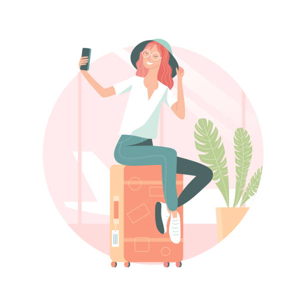 Young woman taking selfie at the airport vector art illustration