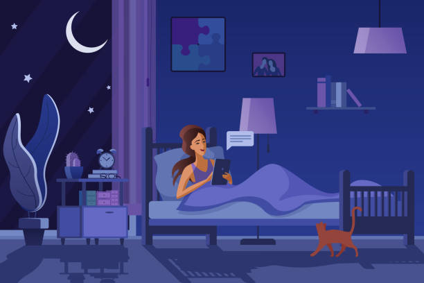 夜のフラットベクトルイラストでテキストメッセージを送る若い女性。ベッドの中の女の子、メッセージを送信し、オンライン図面をチャット。イブニングルームのインテリアデザイン。タ� - スマホ ベッド点のイラスト素材/クリップアート素材/マンガ素材/アイコン素材