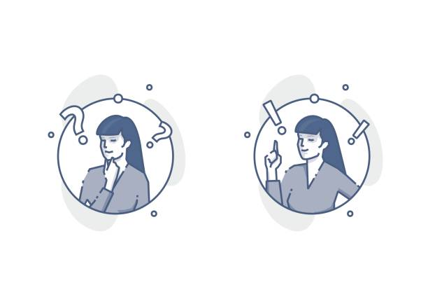 Young woman thinking and deciding round outline illustrations vector art illustration