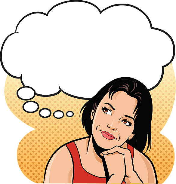 Young Woman Thinking With Speech Balloon