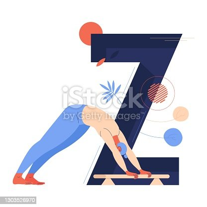 istock Young woman training zourkhaneh and large letter Z on background. Vector concept illustration isolated on white 1303526970