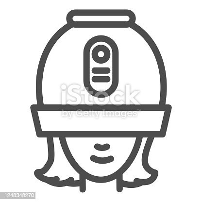 Young woman under hooded dryer machine line icon, hair salon concept, girl under drying hood sign on white background, old hair-dryer hood icon in outline style for mobile. Vector graphics