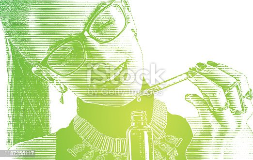 istock Young woman using CBD Oil bottle and pipette 1187255117