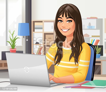 Vector illustration of a young woman with long hair and a yellow shirt sitting in her room at the desk using a laptop. Concept for young people, students, distant learning, working at home, home office, domestic life, creativity and freelance work.