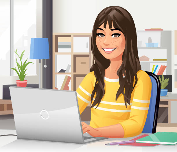 young woman using laptop at home - e-learning not icons stock illustrations
