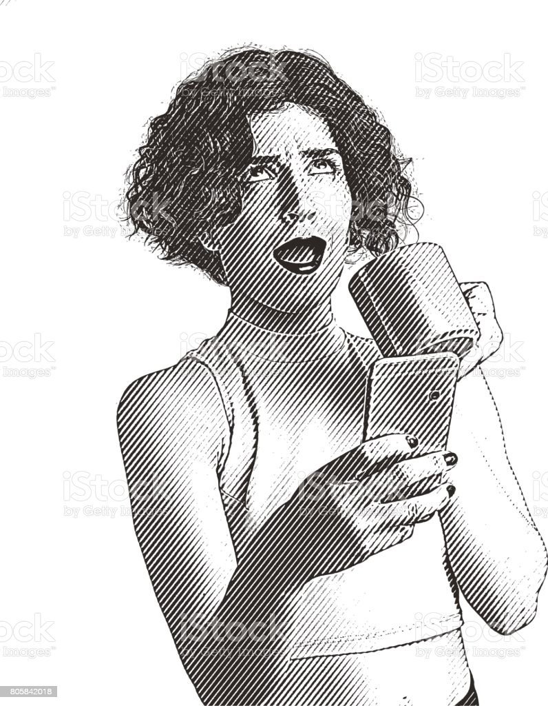 Young woman using phone and receiving stupid message vector art illustration