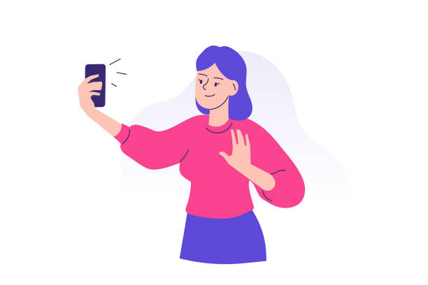junge frau mit demsmartphone zu kommunizieren. glücklich teen mädchen macht selfie mit handy-konzept. verwenden eines tragbaren geräts oder gadgets. weibliche zeichentrickfigur. isolierte moderne vektor-illustration - selfie stock-grafiken, -clipart, -cartoons und -symbole