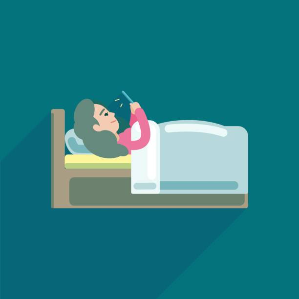 若い女性がベッド、ベクトル アイコン イラストでスマート フォンにテキスト メッセージを使用しています。 - スマホ ベッド点のイラスト素材/クリップアート素材/マンガ素材/アイコン素材