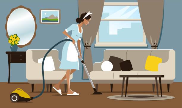 stockillustraties, clipart, cartoons en iconen met jonge vrouw stofzuigen - vrouw schoonmaken