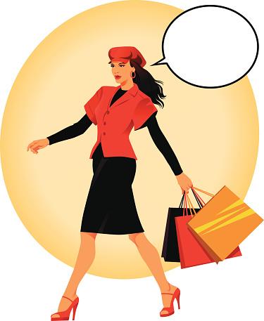 Young Woman Walking Home Holding Shopping Bags