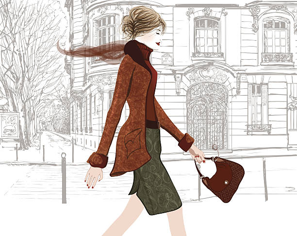 junge frau zu fuß in einer straße von paris - städtische mode stock-grafiken, -clipart, -cartoons und -symbole