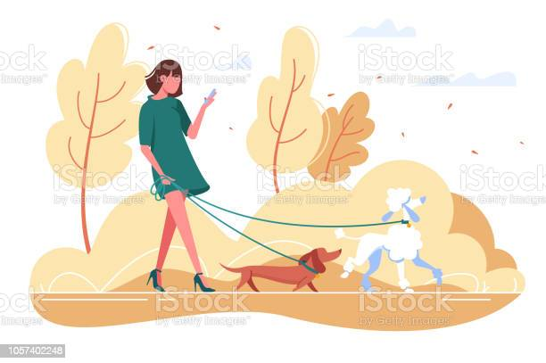 Young woman walks with dog through the woods vector id1057402248?b=1&k=6&m=1057402248&s=612x612&h=i7u6kgix6 2xhgbid0l 4yrvuewc4wq00wcfhgamjt8=