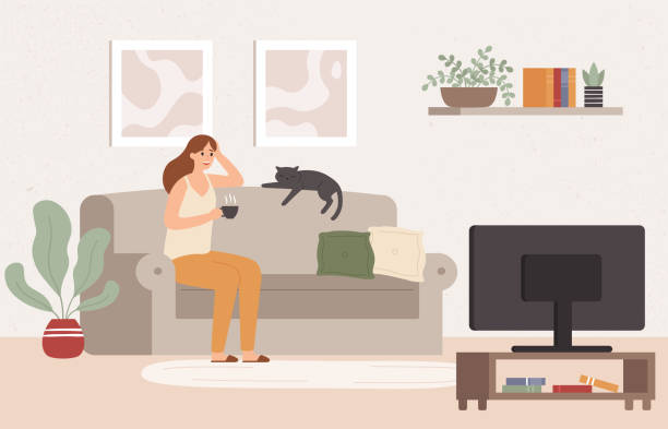 ilustrações de stock, clip art, desenhos animados e ícones de young woman watch tv. girl lying on couch with coffee mug and watching television show series vector illustration - sala