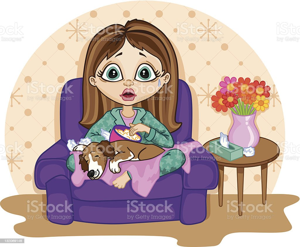 Young woman watching a sad movie royalty-free stock vector art