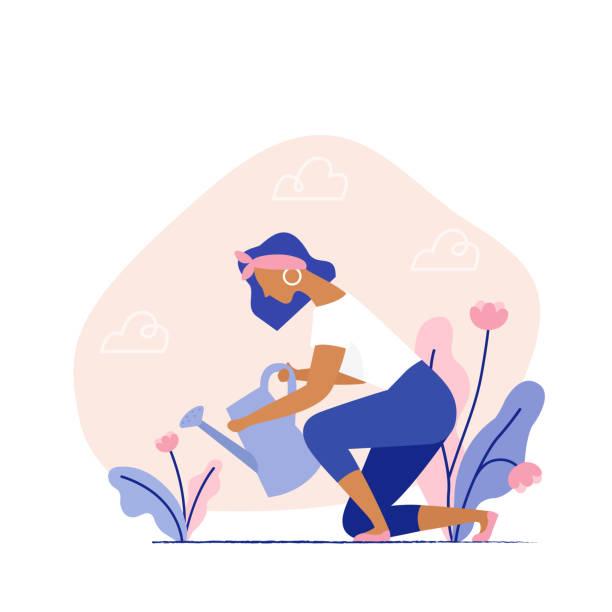 Young woman watering a plant. Female character gardening plants on the backyard. Summer gardening, farmer gardener. Flat vector illustration. gardening stock illustrations