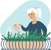 Young woman watering flowers on her city balcony garden. Flat vector illustration