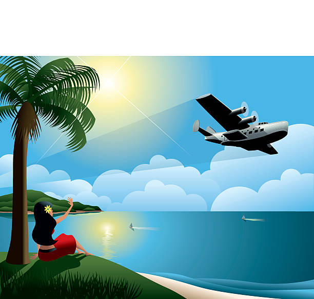 Young Woman Waving at Airplane Leaving Tropical Island A vintage looking seaplane leaves an  island paradise. big island hawaii islands stock illustrations