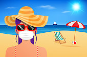 Young woman wearing a mask at the beach