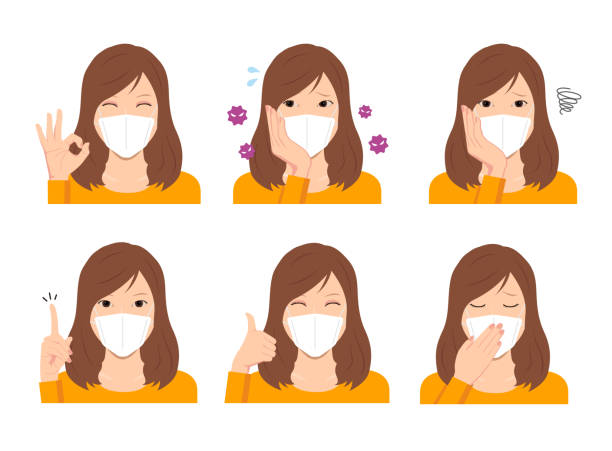 Young woman wearing a mask vector illustration (upper body) set vector art illustration