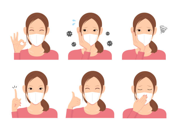 young woman wearing a mask vector illustration (upper body) set - mask stock illustrations