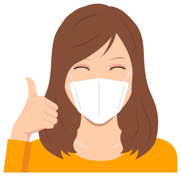Young woman wearing a mask vector illustration (upper body) / thumb up with smiling vector art illustration