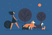Young woman wearing dress and headphones walks dogs on leash along night street. Girl leisurely strolls with her pets at park in evening. Cartoon colorful vector illustration in modern flat style