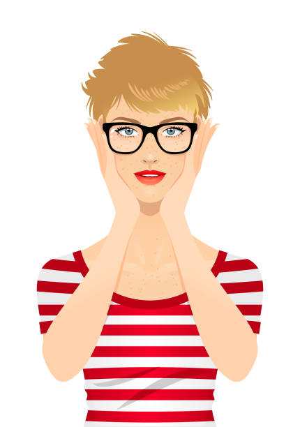 illustrations, cliparts, dessins animés et icônes de jeune femme utilisant des lunettes - femme tache de rousseur