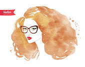 Young woman wearing glasses. Vector illustration